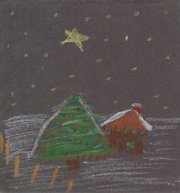 Christmas Card Oil Pastels 17 Dec 2013