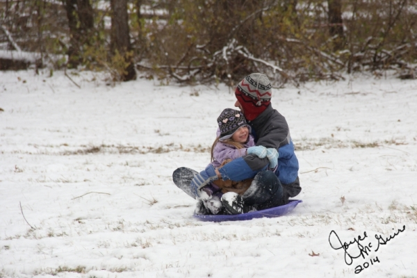 Mark and megan sledding